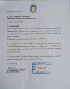 Greenhill letter
